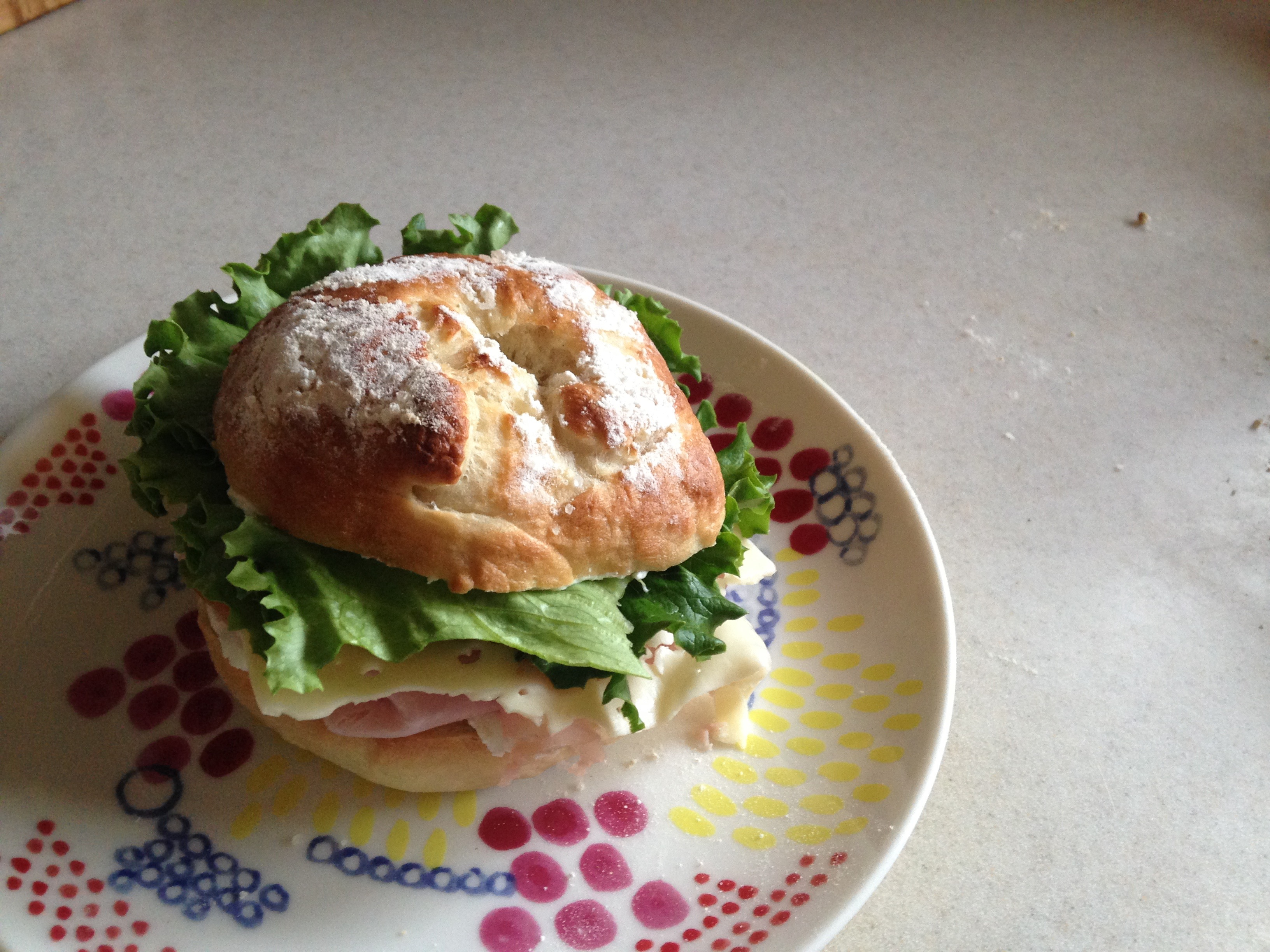 homemade bagel sandwich