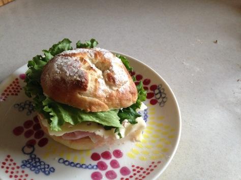 homemade bagel sandwich